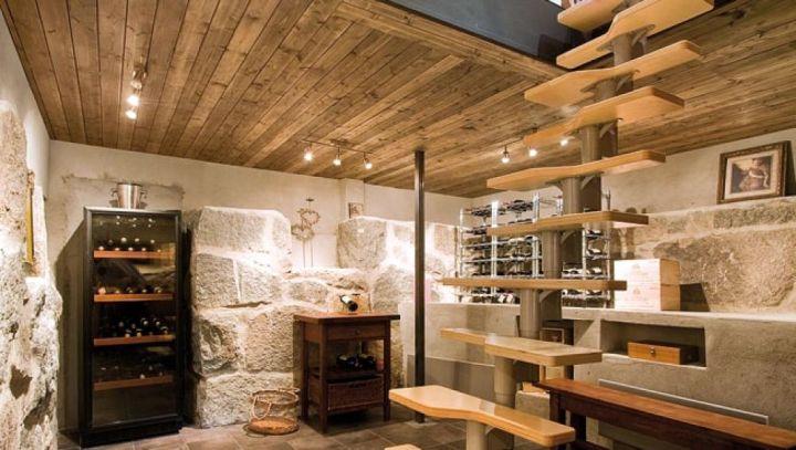 modern basement wine cellar