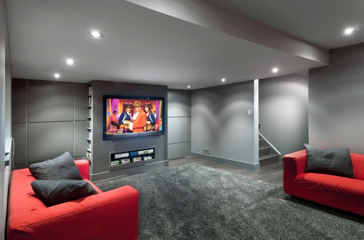So What Do You Think About Modern Bat With Grey Walls And Red Sofa Above It S Amazing Right Just Know That Photo Is Only One Of 17