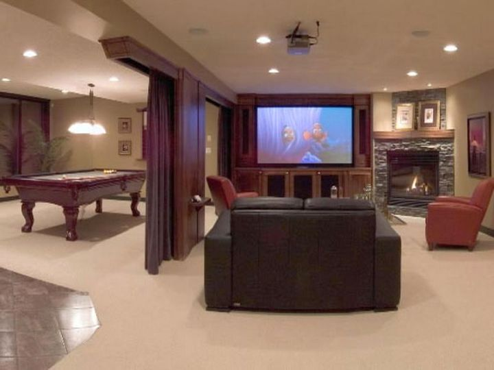 modern basement with partition