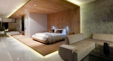 modern bedroom of POD boutique hotel in South Africa featuring wonderful wooden wall panel