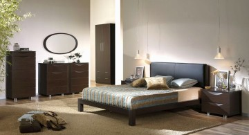 modern brown and blue bedroom