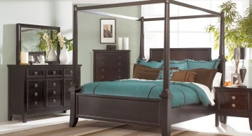 modern brown and blue bedroom with four post bed