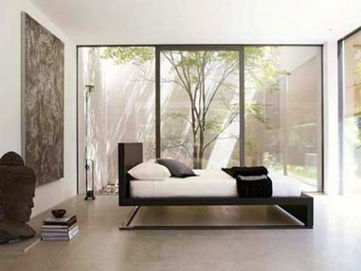 modern floating bed from side