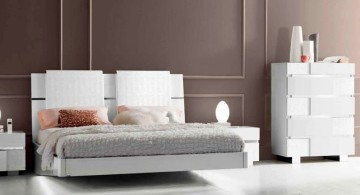 modern floating bed in white and large headboard