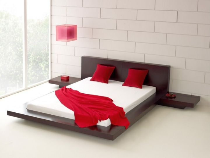 modern floating bed with connecting night stands