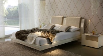 modern floating bed with elegant wall panel
