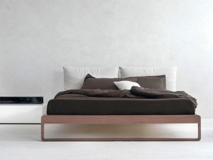modern floating bed with thin fram