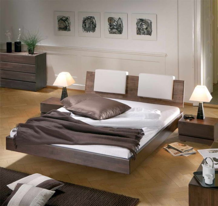 modern floating bed with unique headboard