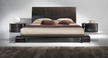 modern floating bed with wide headboard