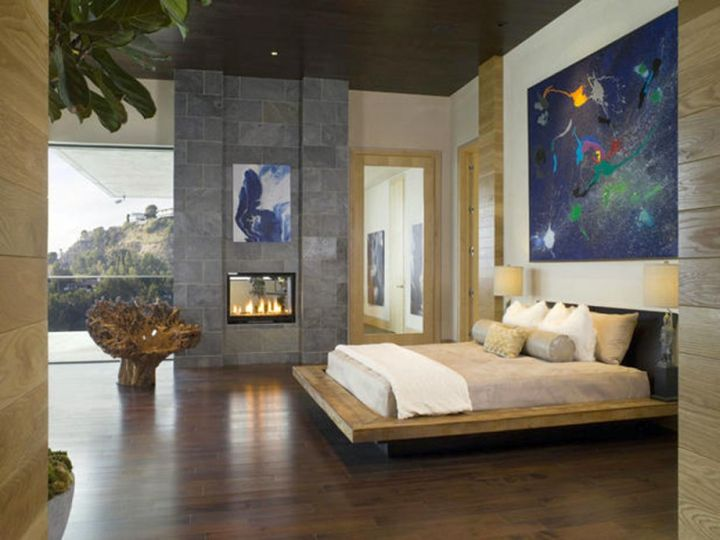 modern floating bed with wooden floor