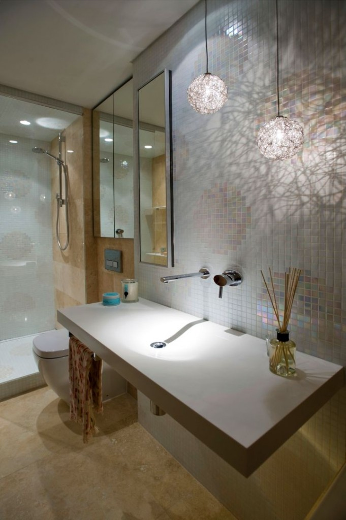 modern floating sinks with unique mini pendant lamps