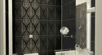 modern glass shower in black and white
