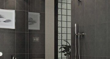 modern glass shower in grey