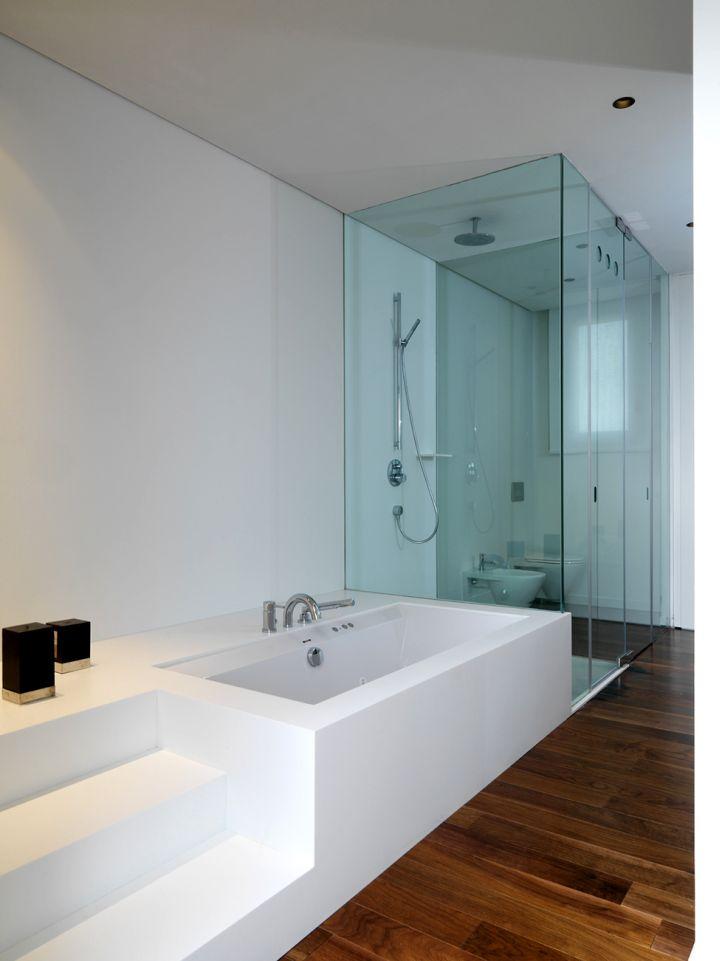 modern glass shower minimalist box