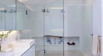 modern glass shower with inground bathup and skylight
