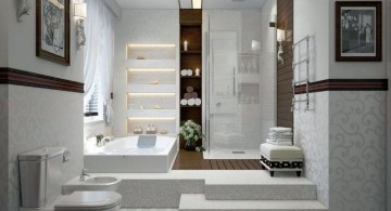 modern glass shower with wooden wall