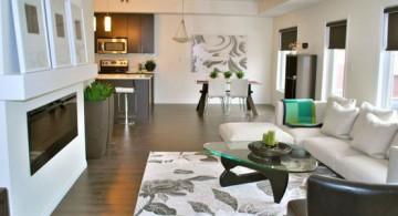 modern long living room design featuring floral patterned rug