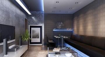 modern long living room for basement