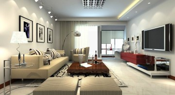 modern minimalist living room in beige and red