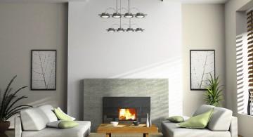 modern minimalist living room with industrial pendant lamp
