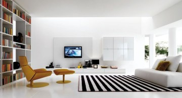 modern minimalist living room with retro chair and striped rug