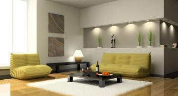 modern minimalist living room with yellow sofa and built in wall shelf