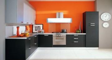 modern modular kitchen in black and orange