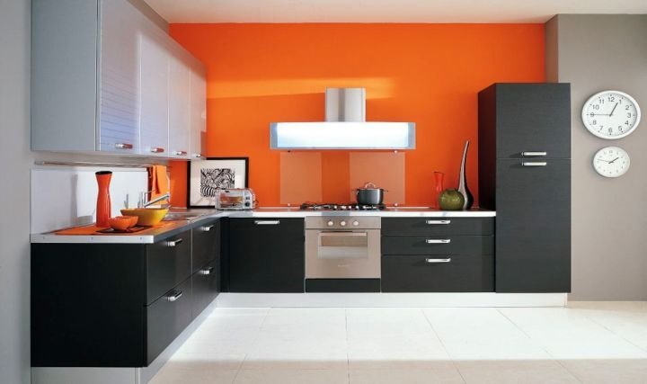 modern modular kitchen in black and orange