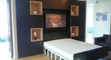 modern murphy bed unit with black background