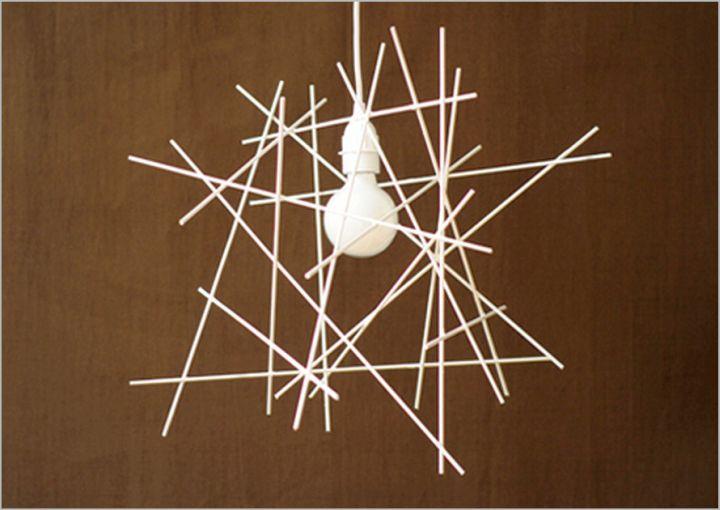 modern pendant light diy with straws