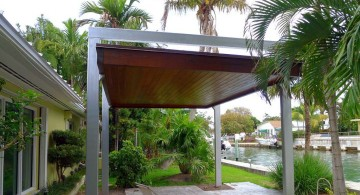 modern pergola kit for poolside