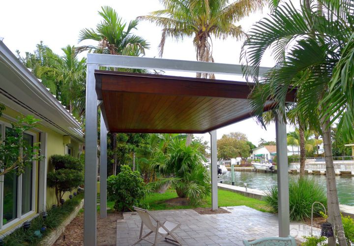 Modern Attached Pergola Design : modern pergola kit for poolside