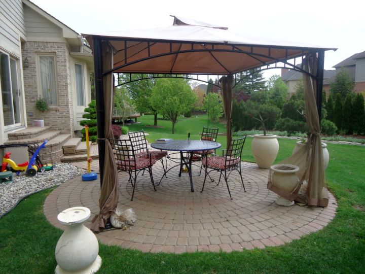 modern pergola kit with curtains