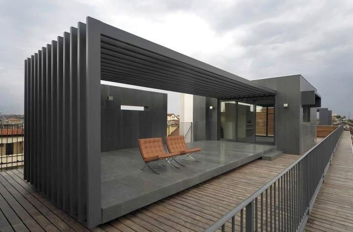 Modern Attached Pergola Design : Modern Design on Roof