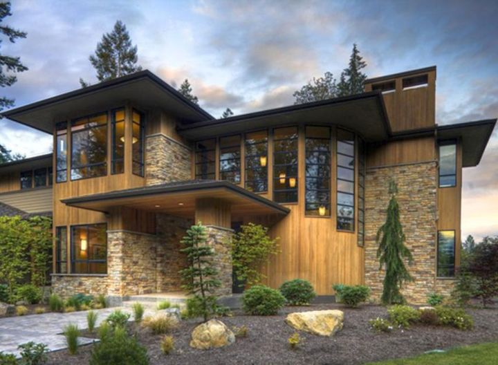 A modern twist on classic prairie style house Contemporary prairie style house plans