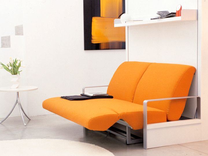 modern wall bed couch in orange