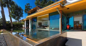 modern water features on summer house