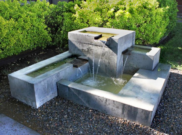 modern water features tiered concrete