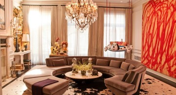 modern with classy chandelier great room furniture layout