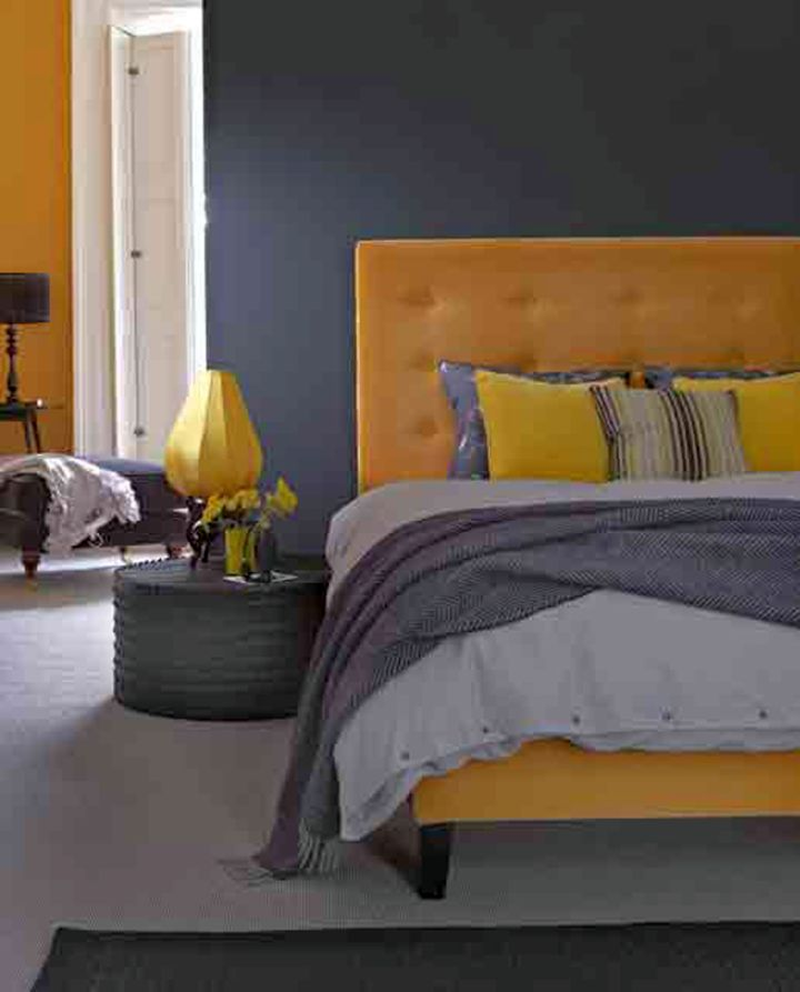 modern yellow gray bedroom