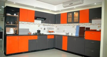 modular kitchen in gray and orange