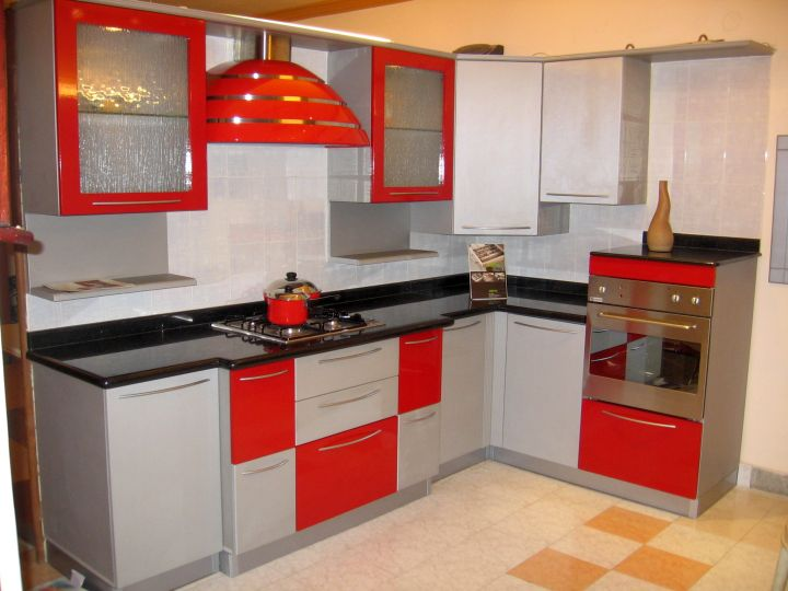 modular kitchen in red and gray