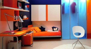 murphy bed unit in orange