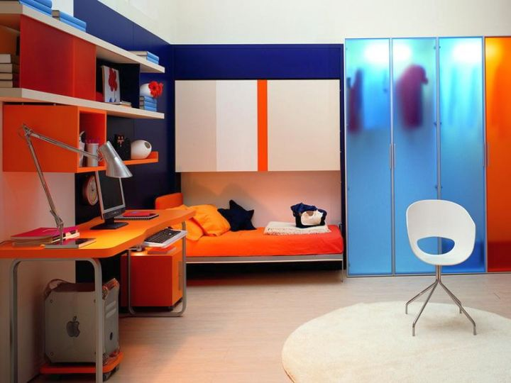 murphy bed unit in orange
