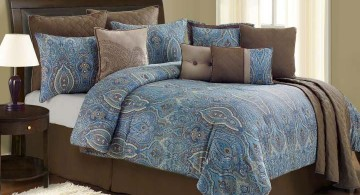 new brown and blue bedroom with paisley pattern