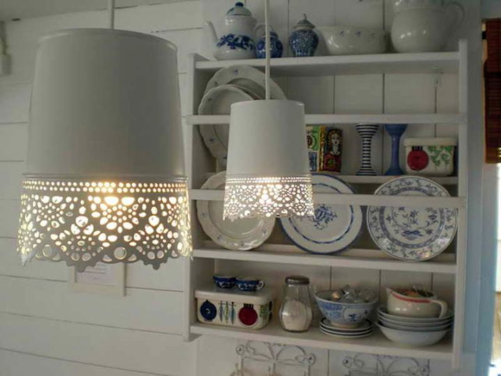 pendant light diy with old wastebasket