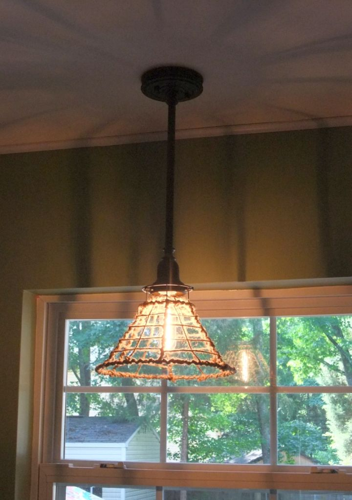 Pendant Light Diy With Old Wires And Rope