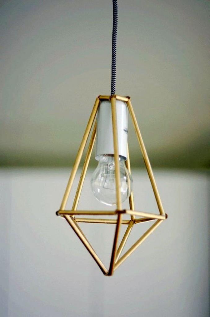 pendant light diy with straws