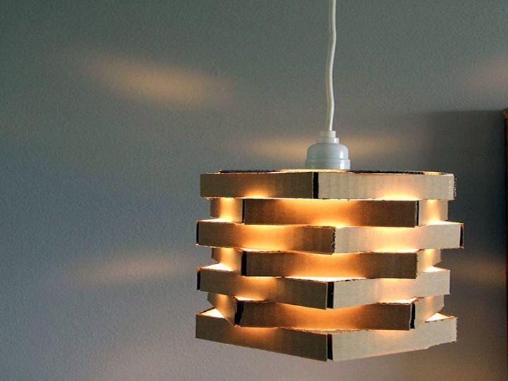 pendant light diy with used cardboard