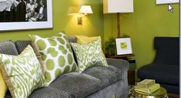 plush sofa in Grey and Green cushions